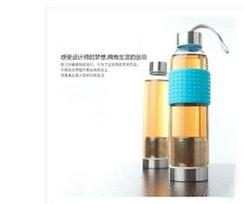 Portable Water Glass Bottle with Tea Leaf Infuser Strainer+ Protective Bag 380ml