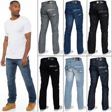 "New Mens Enzo Designer Regular Fit Straight Leg Denim Jeans Pants Waist 28""-48"""