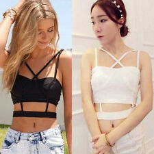 Sexy Lady Boho Cami Cross Backless Stretch Crop Band Bustier Top Bralette Vest Z