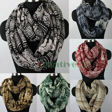 Fashion Women Tribal Style Row Floral&Paisley&Elephants Print Infinity Scarf New