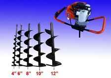 New Auger Post Hole Digger Gas 2 HP Single Person Free Auger Bits-4,6,8,10,12