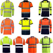 Mens High Visibility Polo T Shirt Hi Viz Vis Reflective Tape Work Tee Top Light