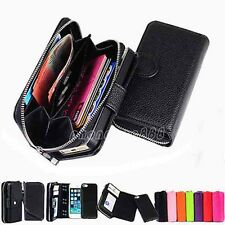 Magnet magnetic Zip Leather Case Cover Wallet Flip Coins Card for iPhone 5 5S