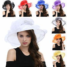 Women Kentucky Derby Church Dress Organza Hat Wide Brim Flat Hat 8 Color Provide