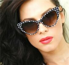 Retro Vintage Cat Eye Very Sexy Polka Dot Black and White Women Sunglasses