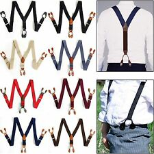 Leather Elastic 6-Button Holes Suspenders Braces Adjustable Tuxedo Work Dress