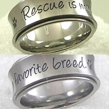 Pet Rescue Spinner Ring Stainless Steel SZ 7-9 Paw Print Dog Cat Silver