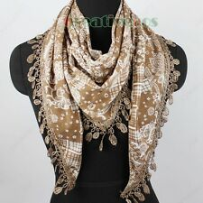 Fashion Women's Totem Floral Print Lace Tassel Soft Cotton Triangle Scarf Shawl
