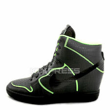 Nike WMNS Dunk Sky Hi Cut Out PRM SL [705488-001] NSW Casual Wedges Black/Lime