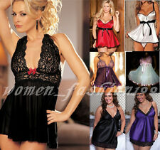 PLUS SIZE S-6XL Sexy Women Lace Lingerie Nighty Robe Babydoll Underwear+G-string