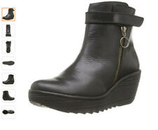 """Womens FLY LONDON """"yava"""" black leather comfort ankle boot"""