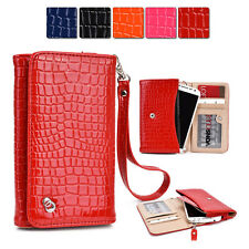 New Slim Crocodile PU Leather Wrist-let Cover Wallet Case DV|G fits Mobile Cell