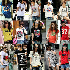 Korean Casual Women Short Sleeve Crew Neck Letter Doodle T shirt Blouse Top TEE
