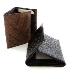 Genuine Leather Crocodile Men's ID Credit Card Holder Trifold Wallet Black Brown
