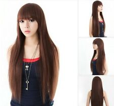 Ladies Long Length Straight Fancy Dress Wig with Fringe (ZMF028)