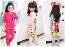 Baby Girls Kids Mickey Minnie Tops Hoodies+Pants Two-pieces Outfits Set Clothes