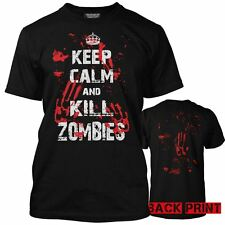NEW Keep Calm and Kill Zombies Bloody Handprint Walking Zombie Mens T-Shirt