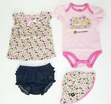 Baby Girls John Deere 4 Pc Outfit NWT Sz 0-3,3-6,6-9 or 12 Mo.Pink Bodysuit Hat