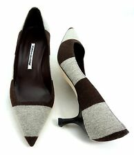 MANOLO BLAHNIK Gray/Dark Brown Stripes Wool/Leather Kitten Heel Pointed Toe