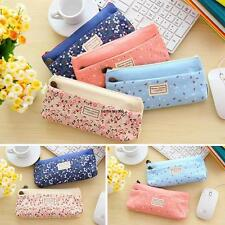 Flower Paint Swallow Pendant Canvas Cosmetic Bag Double Layer Zipper Pencil Case