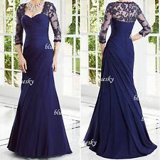Ruched Chiffon Long Mother Of The Bride Dresses Party Prom Formal Bridal Gowns