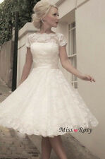 Custom Made Boat Neck Short Sleeve 1950's Vintage Lace Short Wedding Dresses