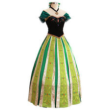 Frozen Anna Outfit Disney Coronation Dress Princess Cosplay Costume-Deluxe Ver.