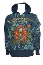 New Ed Hardy by Christian Audigier FOILED HOLLYWOOD Platinum HOODIE royal blue