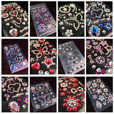 Hearts & Butterfly Crystal Gems Stickers Self Adhesive Rhinestone Decal iphone