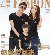 Love you Lovers Heart MOM DAD Kids Family T-Shirt Summer Lycra Cotton QYA6221