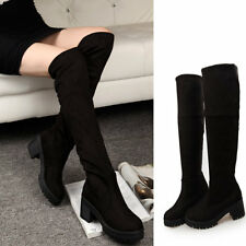 Womens Platform Pumps Chunky High Heels Faux Suede Black Over Knee Boots Shoes