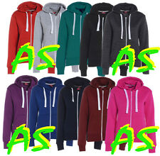 A88 Womens Ladies Plain Hoodie Fleece Sweatshirt Hooded Coat Hoodys Zip Jacket