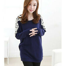 New Fashion Women's Floral Beads Tops Long Sleeve T-shirt Cotton Casual Blouse