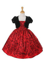 New Girls Red Flocked Floral Dress Christmas Holidays Party Pageant 1038C