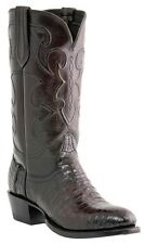 Lucchese 1883 M1637 74 Mens Black Cherry Caiman Crocodile Belly Cowboy Boots