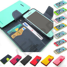 For iPhone 4 4S 5 5S 5C wallet case cover Card/Bill pouch+Color screen Protector