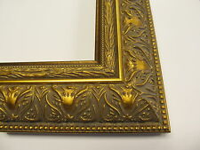 """2.5"""" Wide Canvas Gold and Beads Custom-Made Wood Picture Frame  (#8483)"""