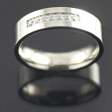 New Men's Women's Stainless Steel 7mm Silver clear Eternity CZ Wedding Band Ring