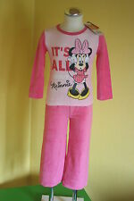 Disney Minnie Mouse ♦ Pyjama Schlafanzug Velour Nicki ♦ Gr. 104 - 116 - 128