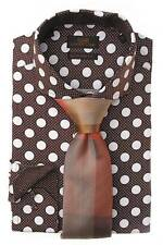 New Men's Steven Land Big Polka Dots Brown/White French Cuffs Dress Shirt DM1245