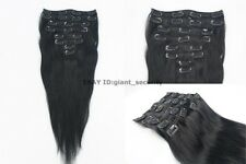 #1 Jet Black Full Head Clip in 100% Remy STW Human Hair Extensions C03