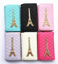 3D Bling Tower Chrome Wallet Purse Style PU Leather Case Cover Pouch for Samsung