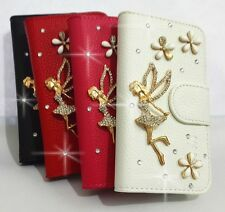 3D Angel Diamond Crystal Flip Leather Card Wallet Case Cover for SONY Cell Phone