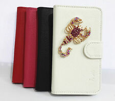 3D Diamond Crystal Scorpions Flip Leather Card wallet Case Cover for Samsung 1