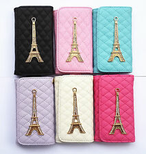 Bling Tower leather Grid chrome Wallet Purse design Case Cover Pouch for Samsung