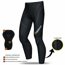 Mens Thermal Cycling Tights Padded long pants zipper bike leggings COLD WEAR