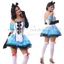 Alice in Wonderland Ladies Maid Fancy Dress Party Card Halloween Cosplay Costume