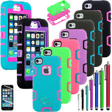 Silicone full set Shockproof Hard Cover Case For iPhone 5C w / Screen Protect