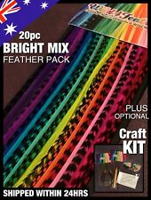 """Feather Hair Extensions Real Feathers BRIGHT MIX 20pc 5FREE Mixed Lengths 8-13"""""""