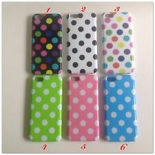 For Apple iPhone 5C TPU Polka Dot Rubber Skin Gel Cover Case White Colorful